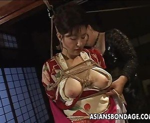 Hot Asian lady with big boobs teased by her partner