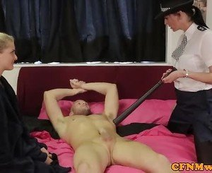 Cfnm police babe Franki Riders gives bj