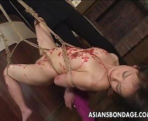 Impeccable Japanese hottie gets glazed in hot wax