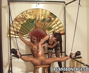 Asian chick tormented by her smoking hot mistress