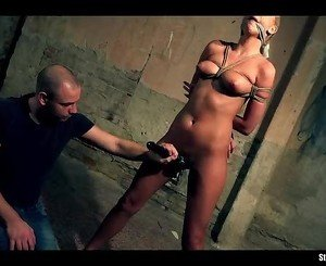Karol on a string bound cleave-gagged whipped vibed