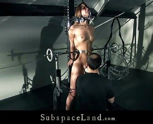 Sexy Alexis restrained in strange devices and tromented