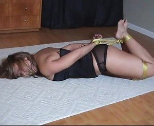 Babe hogtied and left gagged